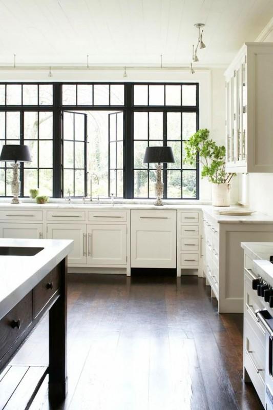white kitchen black windows